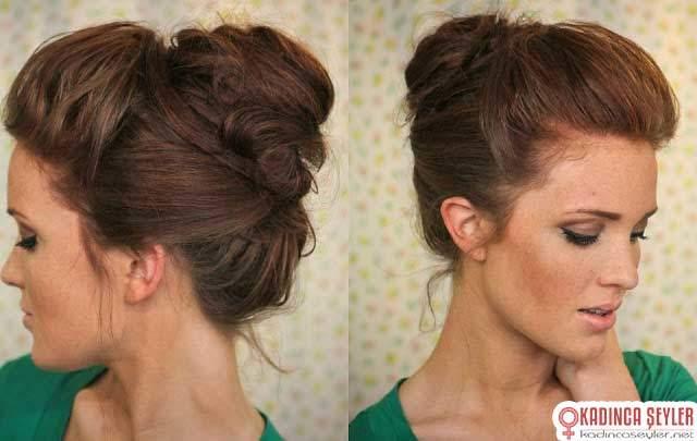 zayıf ve güçsüz saçları hacimli gösteren dağınık topuz modeli