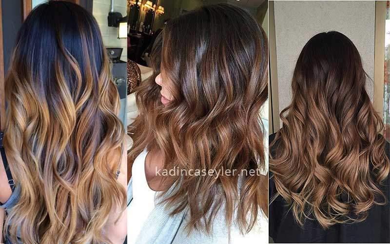 karamel rengi ombre saç modelleri