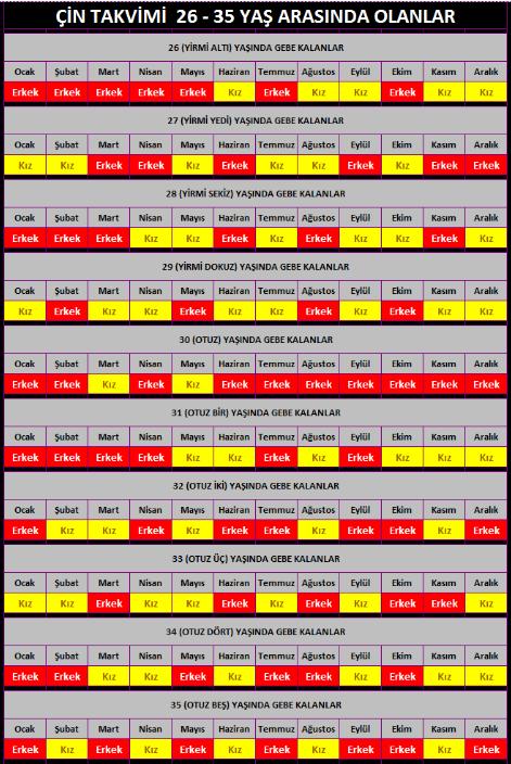 çin takvimi 26 - 35 arası cinsiyet hesaplama tablosu